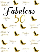 AOFOTO 7x10ft Ladies 50th Birthday Backdrop Fabulous Woman Mother 50 Years Old Party Decorations Glitter Gold High-Heeled Shoes Photography Background Elegant Lady Mom Bday Photo Studio Props Vinyl