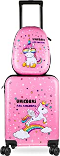 Kid Luggage Case and Backpack 18 Inch Suitcase with Spinner Wheels Hard Shell Travel Luggage 13 Inch Backpack Girl Luggage...