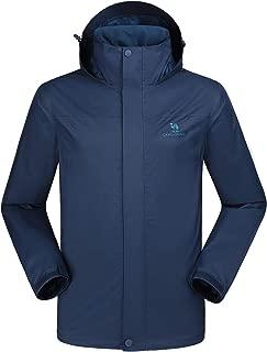 Mens Waterproof Jacket Hooded Windbreaker Windproof Rain Coat Shell for Outdoor Hiking Climbing Traveling