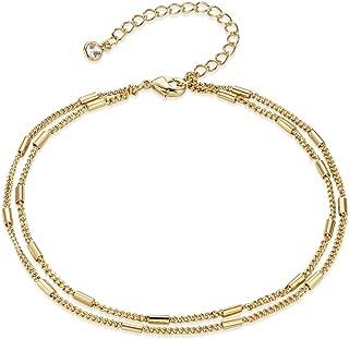 Gold Coin Chain Anklet,14K Gold Plated Dainty Handmade Boho Beach Ankle Bracelets for Women