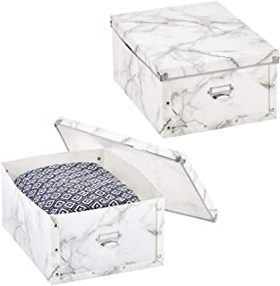 mDesign Decorative Modern Plastic Collapsible Storage Organizer Box with Lid and Metal Plate, for Home, Office, and Bedroom Storage - 2 Pack - Marble