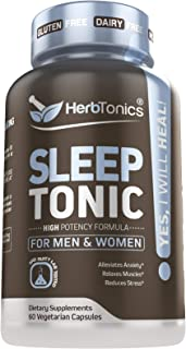 Sleep Aid Pills for Adults with Melatonin Natural Non-Habit Forming - Stress, Anxiety & Insomnia Relief Supplement - Herbal Sleeping Capsules with Suntheanine Valerian Root L-Theanine