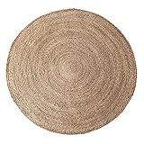 JY&WIN Alfombra de Yute, alfombras Modernas Antideslizantes Naturales Lavables, alfombras Redondas de Fibras Vegetales, para Sala de Estar, Dormitorio, Sala de Estudio, Exterior, marrón Claro, 50 c