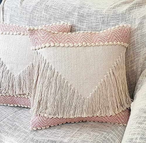 Heavenera Pack of 2 Decorative Pillows Premium Cotton Cushion Cover Bohemian Fringe Throw Pillow Case for Couch Living Room Sofa Bedroom Designer Pillow Blush Pink (18'X18', Boho Fringe - 2 pcs)