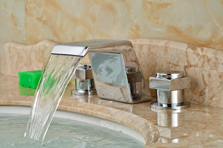 Retro Deluxe Fauceting verbreitete Square Wasserfall Bad Waschtisch Armatur Waschbecken Mischbatterie Griff 2