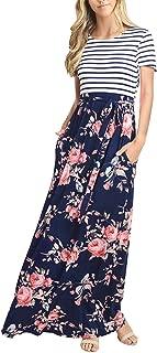 Women's Striped Short Sleeve Floral Print Summer High Waist Pockets Maxi Dress