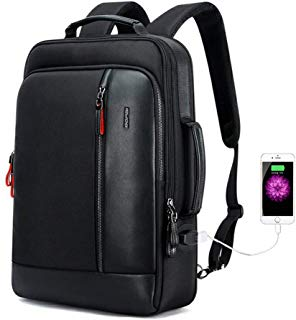 Bopai Intelligent Increase Backpack and Anti-Theft Laptop Rucksack with USB Charging Business Laptop Backpack for Men Water Resistant College Backpack, Black