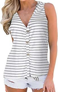 Fashion!Women's Sexy Sleeveless Vest V-Neck Striped Button Buckle Hem Bow Tie T-Shirt