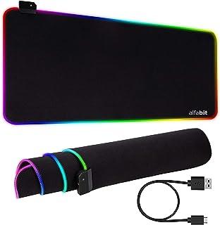 Tapete de mouse para jogos RGB, luz LED ultrabrilhante e grande e macio mousepad estendido com 12 modos de arco-íris de il...