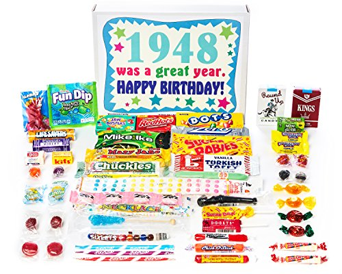 Woodstock Candy ~ 1948 73rd Birthday Gift Box Nostalgic Retro Candy Mix from Childhood for 73 Year Old Man or Woman Born 1948