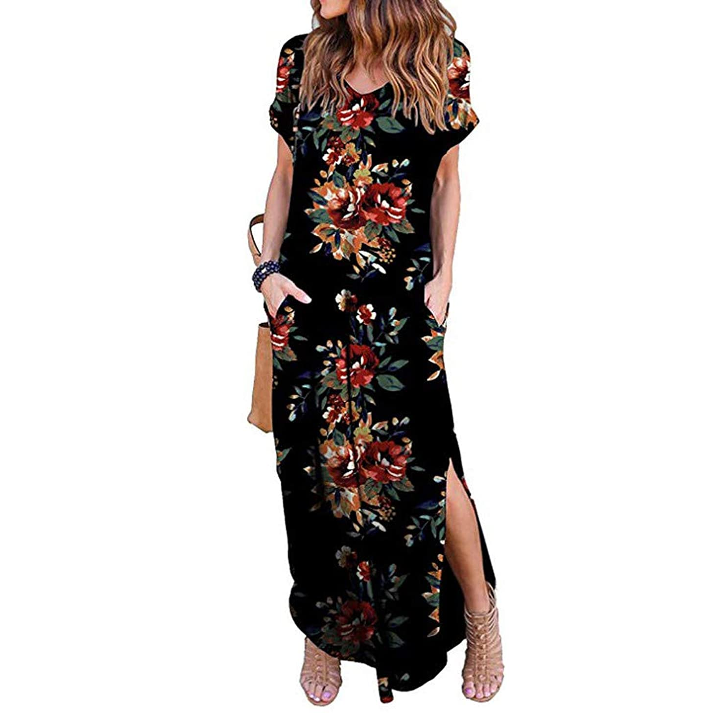 Gibobby Women's Printed Floral Maxi Dresses Casual Long Skirt Short Sleeve Loose Beach Long Maxi Dresses with Pockets