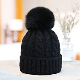JERPOZ Ms. Knit Wool Cap, Plush Leather Ball, Retro Pattern Wool Blend Hat, Beanie Hat, Lightweight, Flexible Hat, Suitable for All Kinds of People (Color : E)