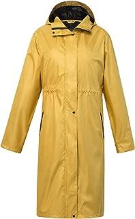 Krespuka Women Long Raincoat Waterproof Rain Jacket with Hood for Outdoors
