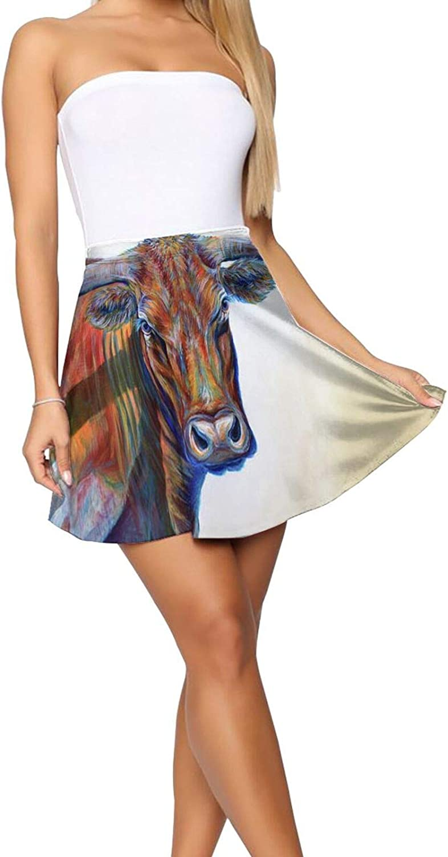 RHRFOL Blue Eyes Women's Basic Versatile Stretchy Flared Casual Mini Skater Skirt