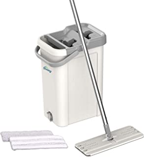 oshang Flat Floor Mop and Bucket Set for Home Floor Cleaning System with Stainless-steel Handle/2-Washable Microfiber Pads