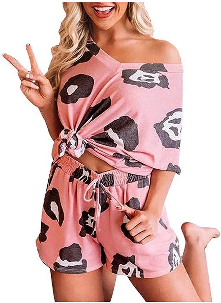 Womens Nightgowns Pajama Set Night Lounge Top Shorts Sleepwear Short Sleeve Nightshirts Print Nightwear Pj Sets
