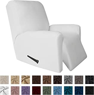 Easy-Going 4 Pieces Microfiber Stretch Recliner Slipcover – Spandex Soft Fitted Sofa Couch Cover, Washable Furniture Protector with Elastic Bottom Kids,Pet (Recliner,Snow,White