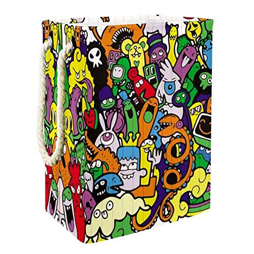MUOOUM Colorido Graffiti Doodle Ilustración de monstruo 19.2 pulgadas impermeable plegable cesta para la colada, cesta de ropa sucia, organizador de almacenamiento de lino para colección de juguetes