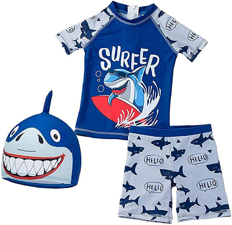 NIDONE Boy's Swimsuit Boy's Swimsuit Shark Print Split Swimsuit Short Sleeved Swimsuit with Cap Navy Size S 3 Piece