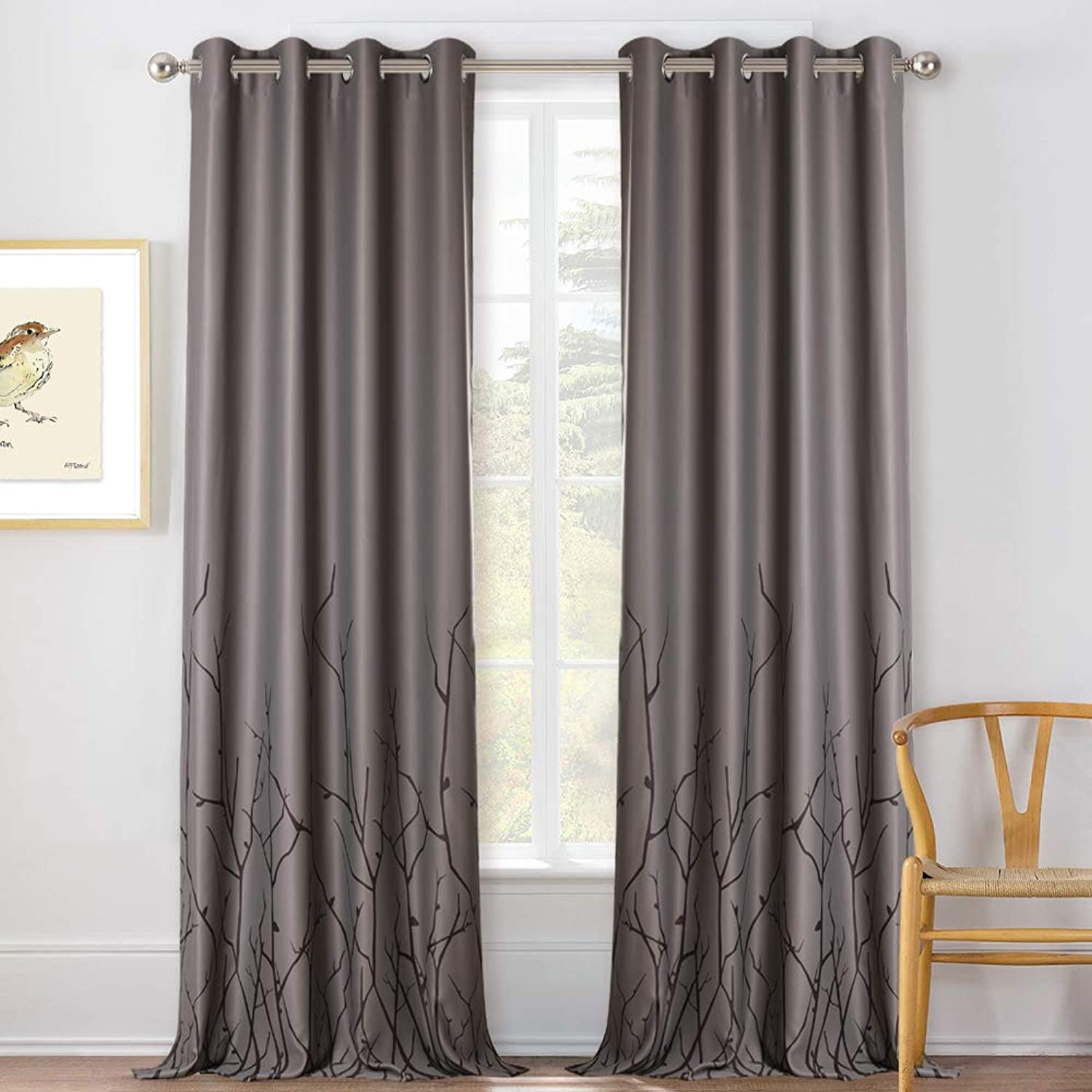KGORGE 95-inch Natural Decoration Curtain - Thermal Insulated Blackout Blinds for Light Blocking Noise Reducing, Trendy Printed Window Draperies with Simple Winter Branch Pattern (Grey, Set of 2)