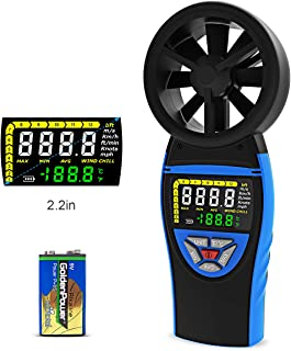 Digital Anemometer Handheld wind speed meter Colorful LCD Screen,AP-8805 wind speed gauges for measuring wind speed & Temperature and wind chill with Backlight and Max/Min/Avg Value (Blue)