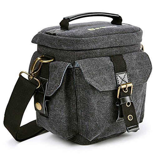 Camera Bag Evecase Compact DSLR/SLR Digital Camera Holster Carrying Case - Gray Small Canvas for Compact System, Micro 4/3, Mirrorless, High Power Zoom Camera, Instant Camera