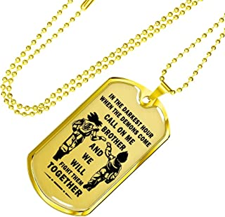 Gold & Silver Color Personalized My Brother Dog Tag Necklace Chain - Dragon Ball Super Son Goku & Vegeta, When The Demons Come, Call On Me Brother, Friends Birthday Gifts Ideas
