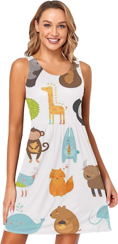 niBBuns Women's Summer Casual Sleeveless 3D Printed Swing Dress Sundress with Pockets