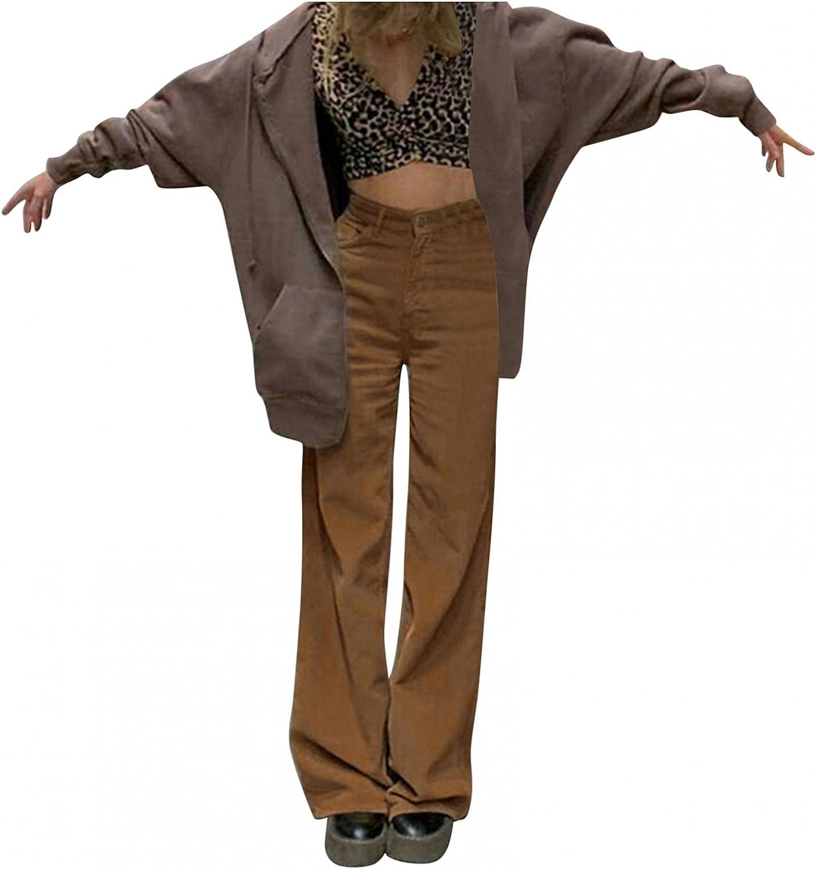 Y2k Fashion Jeans for Women High Waisted Pants Hem Baggy Denim Pants Stretch Wide Leg Straight Jeans Streetwear