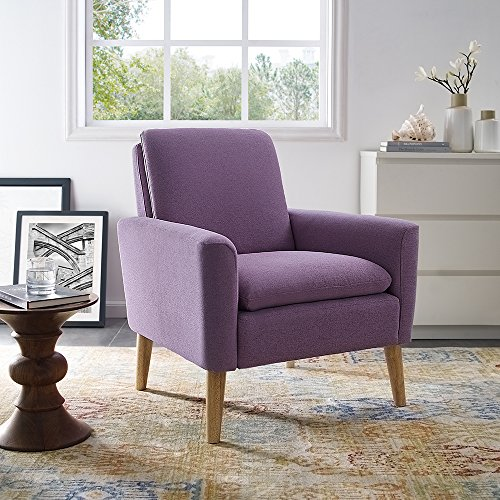 Lohoms Modern Accent Fabric Chair Single Sofa Comfy Upholstered Arm Chair Living Room Furniture Purple