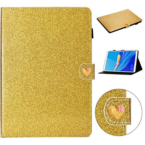 PHONETABLETCASE+ / for Compatible with Huawei MediaPad M6 8.4 Glitter Powder Love Hebilla Horizontal Flip Funda con Soporte y Ranuras Tarjetas,Protección de la Cubierta de la Cubierta a Prueba