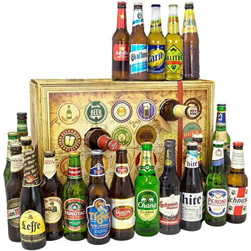 Bier Adventskalender Welt - tolles Geschenk für Männer - Adventskalender 2019 - mit 24 Biersorten in FLASCHEN - Bier Adventskalender International - Weihnachtsgeschenke Bier für Männer