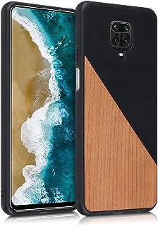 kwmobile 対応: Xiaomi Redmi Note 9S / 9 Pro / 9 Pro Max ケース - ウッド x PUレザー スマホカバー - ハードケース 保護 ウッドツーカラーデザイン 黒色/茶色