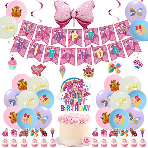 JOJO Birthday Party Decorations, JOJO Theme Party Supplies Birthday Decorations for Boys Girls with Happy Birthday Banner, Cake Topper,Cupcake Toppers, Banner, Balloons, Swirls Decorations