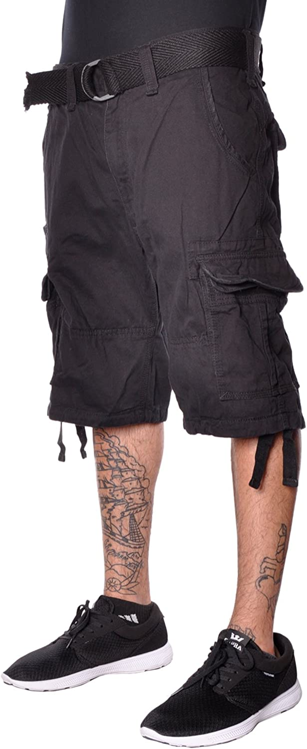 Jordan Craig Mens Classic Cotton Soft Casual Lose Fit Woven Belted Cargo Shorts