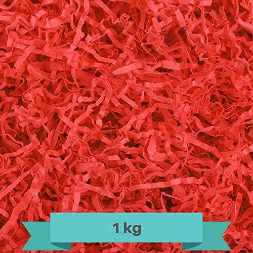 Creative Deco 1kg Rot Füllmaterial aus Papier | Papier-Schnitzel | Deko-Stroh für Zuhause | Verpackungs-Material für Weihnachts-Geschenke und Geschenk-körbe | KOMMT IN Blauer Tasche