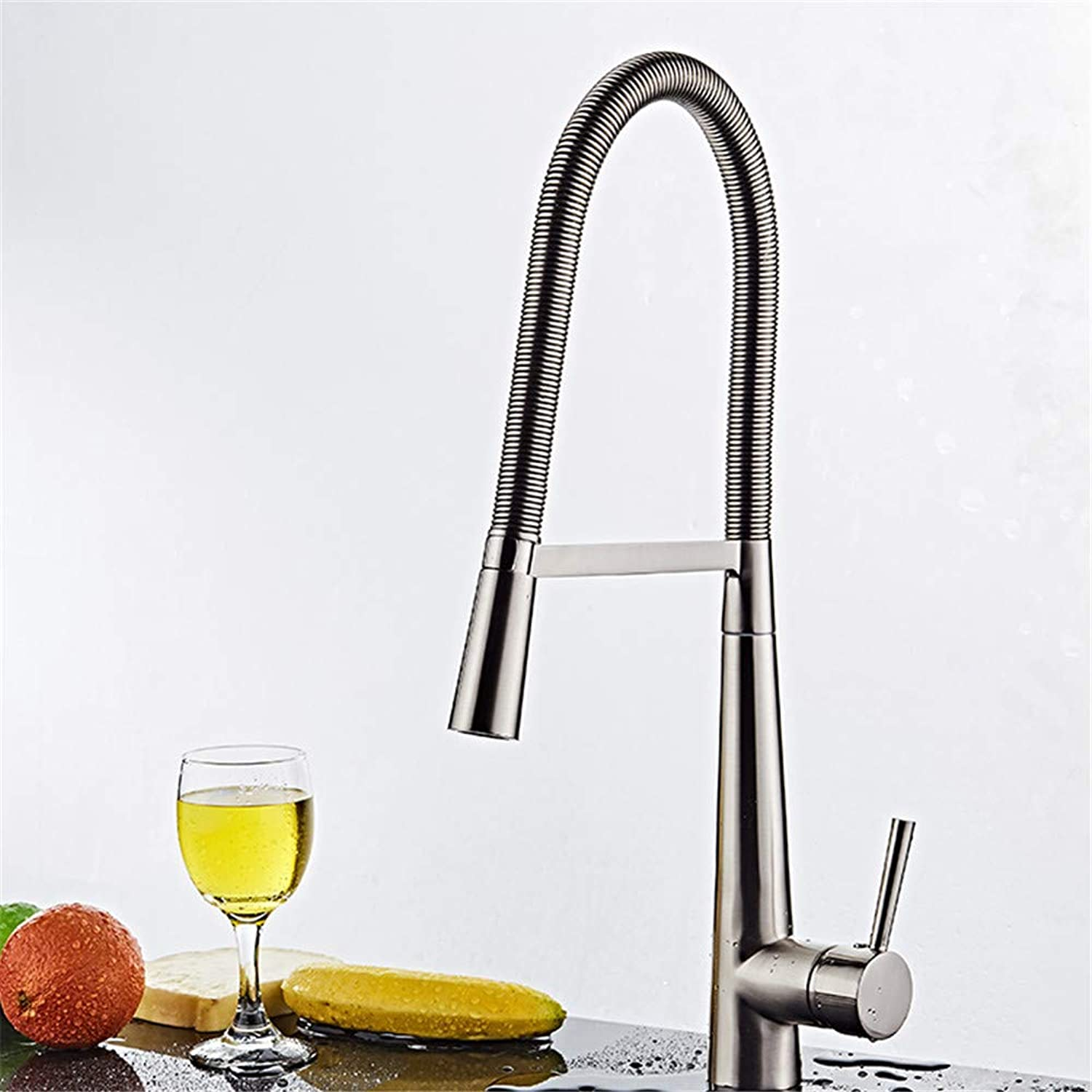 YAWEDA Copper Copper Copper Kitchen Faucet Long Bending Spring Cabbage Pot Faucet Kitchen Faucet Kitchen Sink Faucet Stainless Steel Kitchen Cold and Hot Water Mixer Faucet bbd9cc