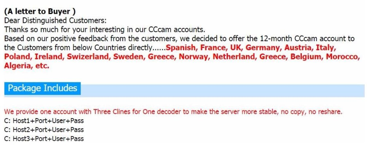 CCCAM Europa 3 Cline Ultimo Server para decodificador Satellite Sky UK Alemania Francia España Austria Italy Sweden Greece Norway Netherland belguium Poland Ireland swizeland....: Amazon.es: Electrónica