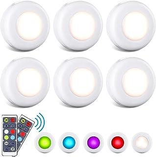 Lampe de Placard/Armoire, 6 Pack Veilleuse LED A Pile RGB 4/16 Couleurs Dimmable Lampe Led Sans Fil avec Tactile et Téléco...