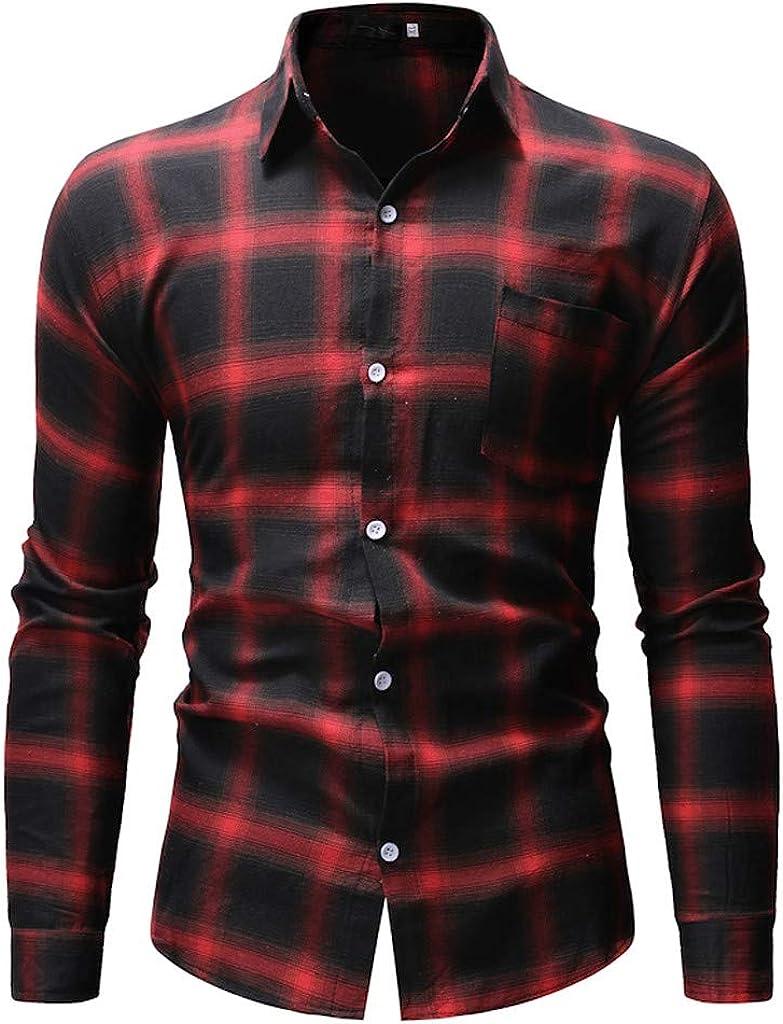 MODOQO Men's Long Sleeve Casual Fashion Button Down Plaid Dress Shirts