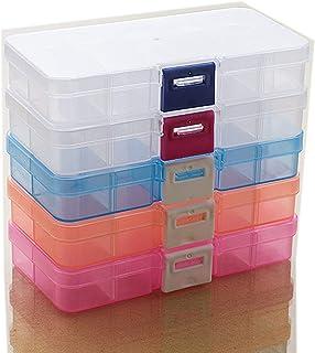 小物収納ケース ジュエリーボックス アクセサリー パーツケース プラスチックケース ネックレス ピアス 指輪小物収納整理ボックス 5個セット(12.8*6.5*2.1cm,10グリッド)