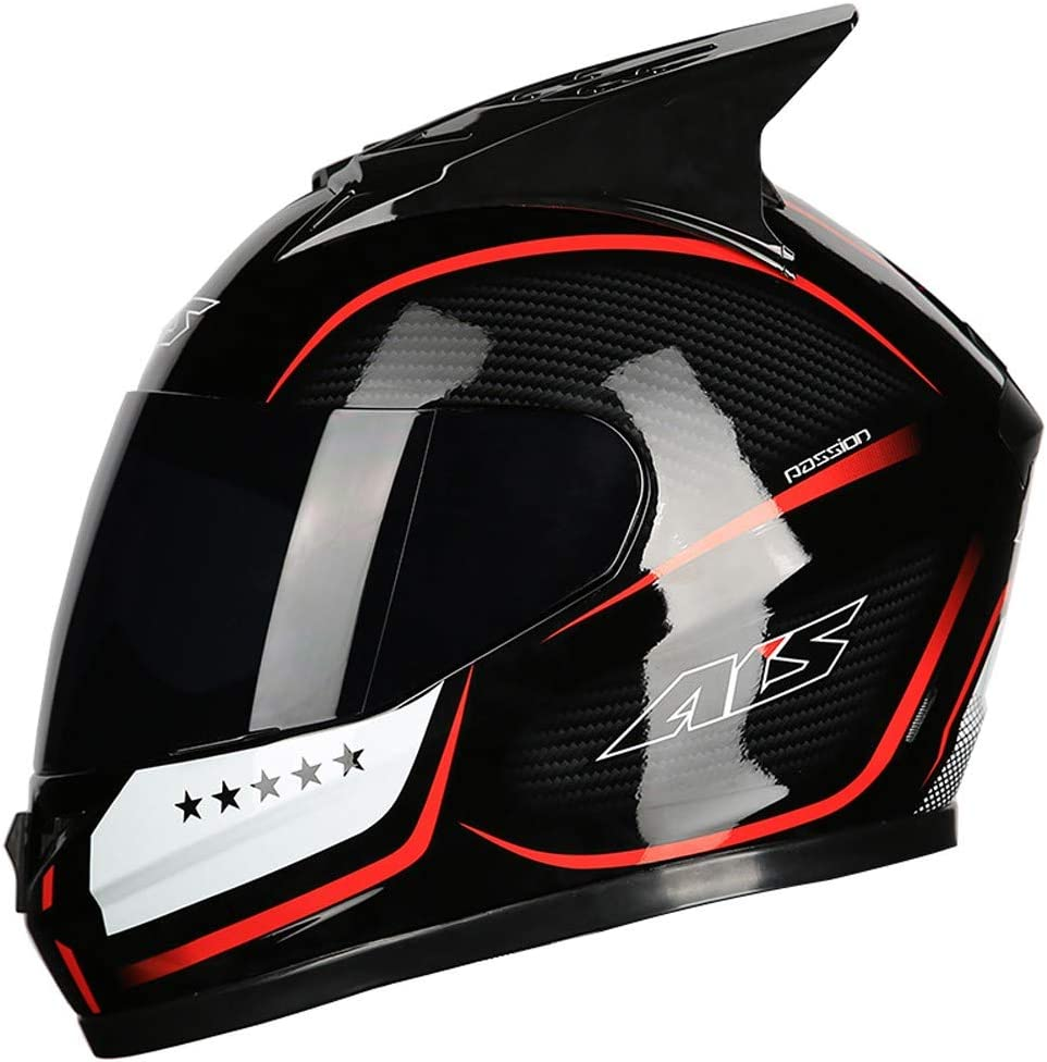 Aerodynamic and Comfortable Design and for Street Bike Motocross ATV Full Face Helmet with Ox-horn Integral Motorcycle Crash Helmet with Anti-UV Lens for Adult DOT Approved