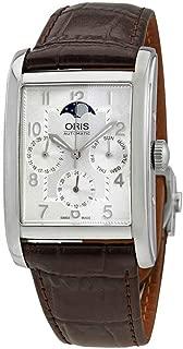 Oris Rectangular Complication Silver Dial Leather Strap Men's Watch 58276944061LS