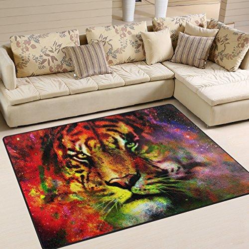 Naanle Galaxy Lion Aquarell Gemälde Anti-Rutsch-Teppich für Wohnzimmer, Esszimmer, Schlafzimmer, Küche, 50 x 80 cm, bunte Tiger, Tier-Teppich, Yogamatte, Polyester, multi, 120 x 160 cm(4' x 5')