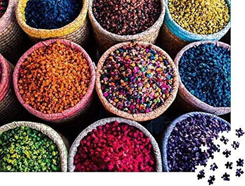 Casual moeilijkheidsgraad,puzzel 1000 stukjes puzzel voor volwassenen Kleurrijke kruiden in ronde manden in de souk van Marrakech - Klassieke puzzelcollectie fotopuzzels 75 cm * 50 cm