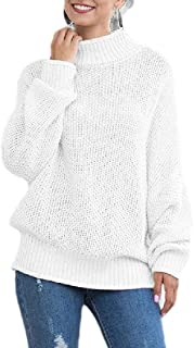 Womens Casual Turtleneck Chunky Sweater Batwing Sleeve Knitted Pullover