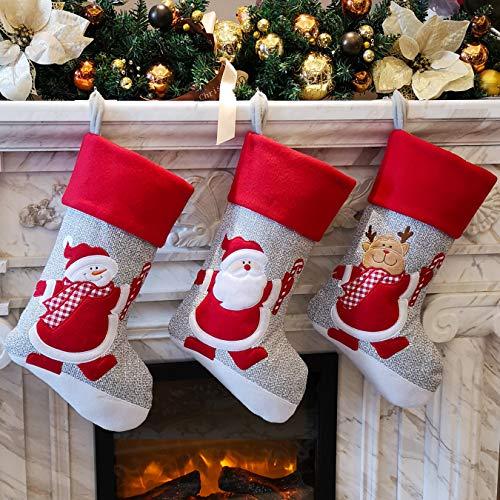 Bstaofy Wewill - Juego de 3 Calcetines navideños, diseño de muñeco de Nieve de Papá Noel, Color Rojo, Style 4
