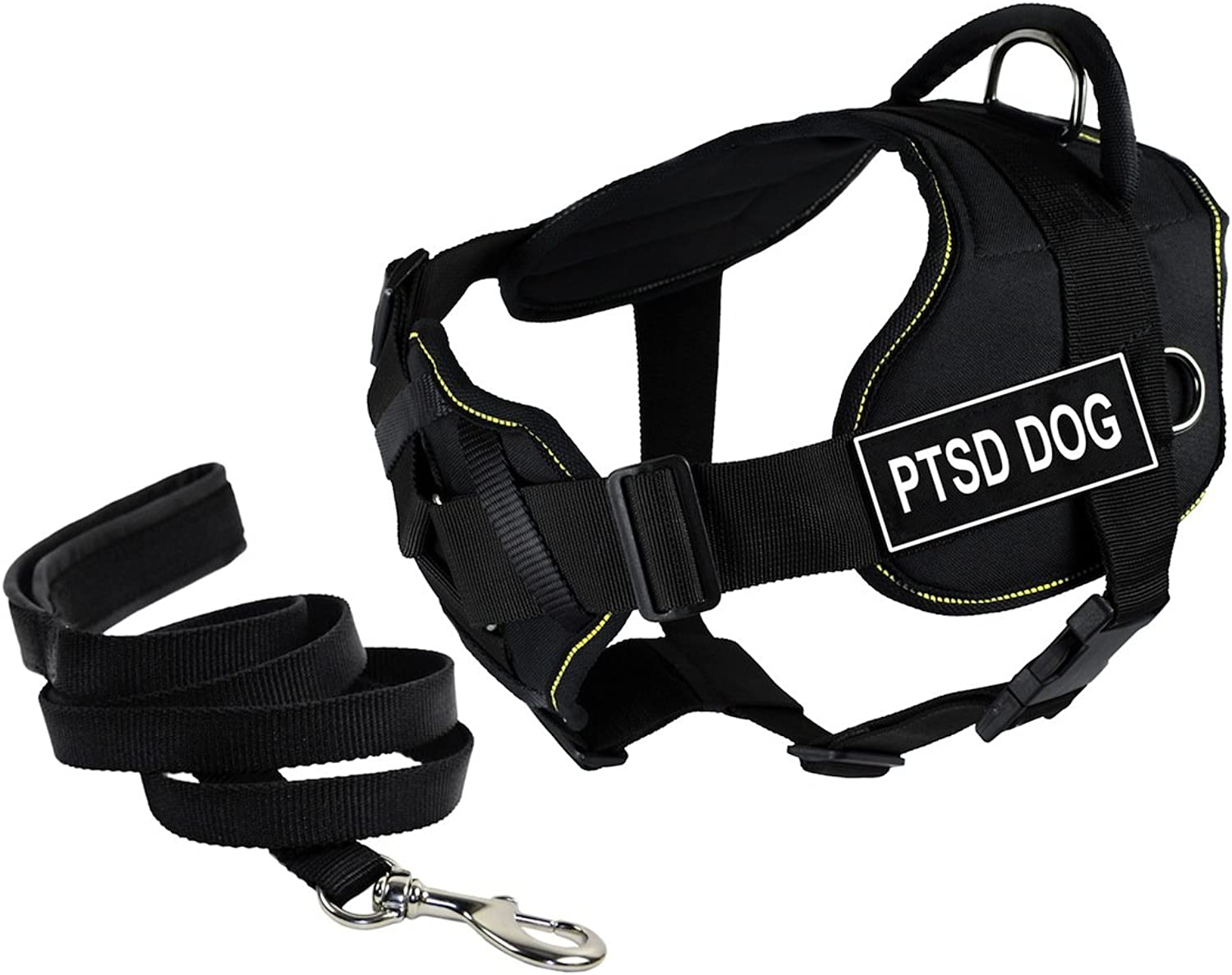 Dean & Tyler's DT Fun Chest Padding PTSD DOG Harness, Small, with 6 ft Padded Puppy Leash.