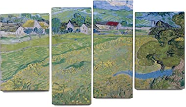 Wall Art Bedroom for Living Room Home Office Decor Giclee Print 4 Pieces Horse View of Vessenots Near Auvers Van Gogh Landscape Modern Artworks Painting Canvas