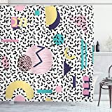 ABAKUHAUS Duschvorhang, Geometrische Muster Retrostil mit R&e Halbmond Dreieck Formt Grafik Bunte Digital Druck Design, Wasser & Blickdicht aus Stoff mit 12 Ringen Schimmel Resistent, 175 X 200 cm